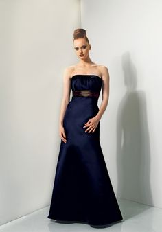 Hot Sale Deep Blue Sash Wrinkle Strapless Satin Floor Length Elegant