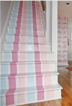 Cottage ♥ Pastel Striped Stairs