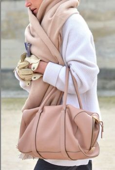1f6043a07e97 Ivory Sweater with Khaki Accessories Paris Fashion Week Street Style