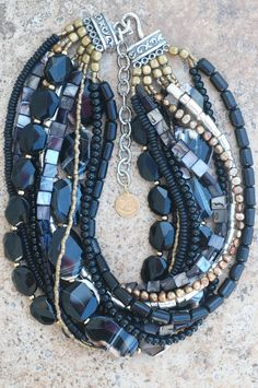 Elegant Black Agate, Gold and Silver Necklace | XO Gallery - love everything about this necklace - everything!