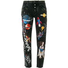 Dolce & Gabbana boyfriend planets printed jeans ($1,695) ❤ liked on Polyvore featuring jeans, black, 5 pocket jeans, floral embroidered jeans, tapered leg jeans, metallic jeans and mid rise boyfriend jeans