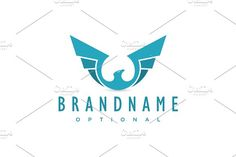 For sale. Only $29 - transport, animal, bird, Phoenix, eagle, hawk, falcon, wings, fly, sky, medal, ascending, blue, memorable, modern, simple, abstract, success, movement, resurrection, freedom, independence, strength, liberation, airlines, logo, design, template,