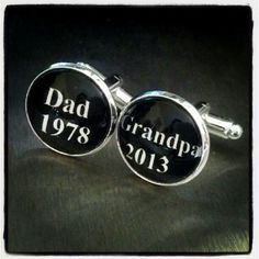 Personalized Grandparent Gift, Dad Grandpa, Custom Cufflinks, Father's day gift, New Baby Announcement, Grandpa Gift, First time Dad. $28.00, via Etsy.