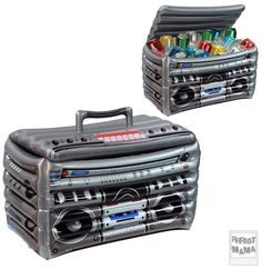 Sold on Amazon! Boombox cooler perfect for juice boxes at a 2nd birthday party! - Rock n' roll themed birthday - Music festival - Riot's birthday fest 2016