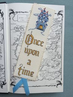 """Items similar to Cross Stitch Bookmark, """"Once Upon A Time"""", Handcrafted Bookmark, Gift for Bookworm on Etsy - Cross Stitch Bookmark Once Upon A Time Handcrafted by VivArtCastle - Cross Stitch Freebies, Cross Stitch Books, Cross Stitch Bookmarks, Cross Stitching, Cross Stitch Embroidery, Embroidery Patterns, Cross Stitch Designs, Cross Stitch Patterns, Cadeau Harry Potter"""