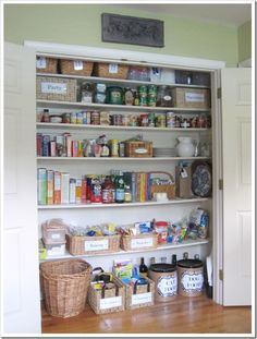 This is probably the most organized and cutest pantry interior I have ever seen. Great ideas for helping me plan how to fix/update our pantry.