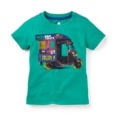 Auto Rickshaw Photo Tee ($23) ❤ liked on Polyvore featuring tops, t-shirts, graphic design t shirts, graphic tees, green tee, graphic print t shirts and green top