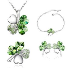 Mondaynoon Swarovski Elements Austrian Crystal Jewelry Sets Heart Shaped Four Leaf Clover Necklace, Bracelets, Earrings. Wedding Jewelry Sets, Engagement Jewelry, Wedding Accessories, Lucky Blue, Gemstone Necklace, Crystal Necklace, Crystal Jewelry, Necklace Set, Four Leaf Clover Necklace