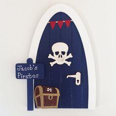 Pirate Fairy Door, Personalised Pirate Themed Fairy Elf Door, Boy's Fairy Door, Navy Blue and Red, Skull & Crossbones, Treasure Chest,