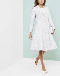 Oriental Jacquard pleated coat - Light Grey | Jackets & Coats | Ted Baker UK