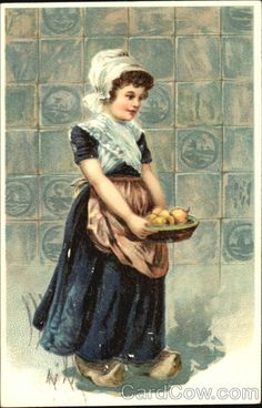 Girl with basket of fruit Dutch Children