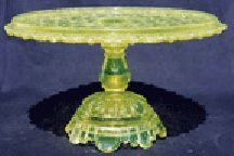 *BELMONT #100 aka: Daisy + Button w/ scalloped edge was made by: Belmont Glass Works, cake plate, c.1886.  EAPG INC Museum Vaseline Rarities