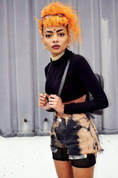 Kinda want orange hair. Afro Punk, Alternative Mode, Alternative Fashion, Black Girl Magic, Black Girls, Punk Fashion, Street Fashion, Pretty People, Beautiful People