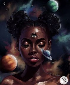 She is the Universe Art Black Love, Black Girl Art, Black Art Painting, Black Artwork, Art Magique, Illustration Inspiration, Afrique Art, Black Girl Cartoon, Black Art Pictures