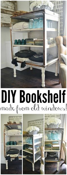 DIY Antique Window Bookshelf