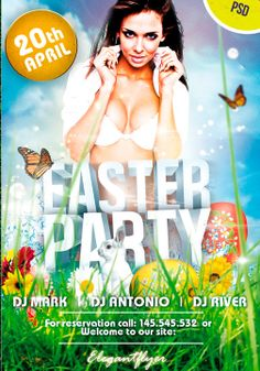 Free Spring Easter Party PSD Flyer Template Photoshop Flyer Design http://www.freepsdflyer.com/free-spring-easter-party-psd-flyer-template/