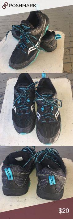 """Saucony Adapt shoes A sharp and comfy pair of Saucony """"Adapt"""" trail running shoes, size 8, in Black, with trim in Teal and Silver ❗ These are in very good previously loved condition😆. * From a smoke free home. Saucony Shoes Athletic Shoes"""