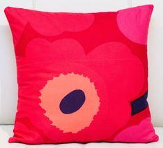 "18""x18"" Marimekko Pillow Cover. Handmade. Pattern: Unikko by Maija Isola. Pink/Red. (45x45cm) by PantsandPillows"