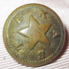 ANTIQUE CIVIL WAR UNIFORM BUTTON -  STATE OF TEXAS - BLANK BACK DEPRESSED RING