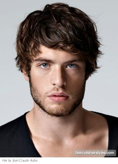 Medium layered haircut on wavy hair - I love guy hair like this. Perfect length