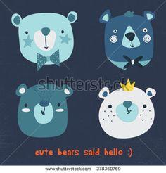 cute bears vector pack - stock vector