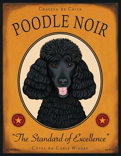 Black Poodle Art - Chateau De Chien - Poodle Noir - The Standard of Excellence - 8x10 art print by Krista Brooks