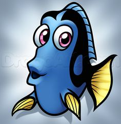 Drawing Dory Easy, Step by Step, Disney Characters, Cartoons, Draw ...