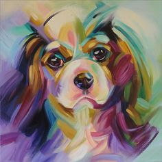 I painted this tri color cavalier in my own perception of colors. Prints on canvas are available of this one. Art | painting | acrylic | portrait | dog | cavalier king charles spaniel | colorful | www.wendy-beugels.com