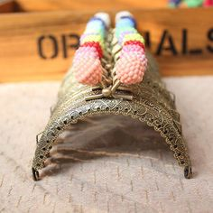 12 color choose 8.5cm Retro antique brass purse with colorful small litchi beads frame bag frame coin purse frame handmade supplies 1pcs