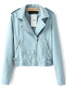 Blue Lapel Epaulet Oblique Zipper Crop Jacket