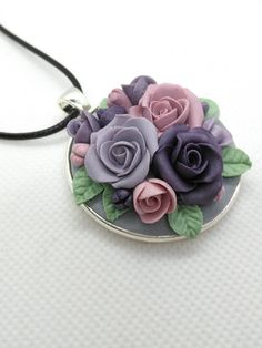 Polymer Clay Roses- pastel colors-purple-pink-gray/grey romantic necklace by NadoandLola on Etsy