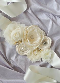 Ivory Bridal Sash with Flowers  Jeweled Flower by weddingsandsuch, $90.00