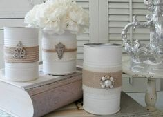 """Shabby Vintage Tin Can Craft; This whole upcycle, recycle, reuse, repurpose thing. is pretty darn cool! Join me and craft """"blah"""" tin cans into shabby, pretty containers with vintage flair and multiple uses! Tin Can Centerpieces, Vases Decor, Wedding Centerpieces, Tin Can Decorations, Upcycled Crafts, Tin Can Crafts, Crafts To Sell, Diy Crafts, Vintage Crafts"""