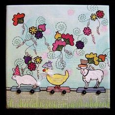 New collage/painting celebrating Spring! This is a whimsical take on dressing up for the Easter Parade. The background is textured and painted. The gound is applied papers. The flowers are fabric. The duck, rabbit and sheep are painted with paper hats and the duck has a lace and button
