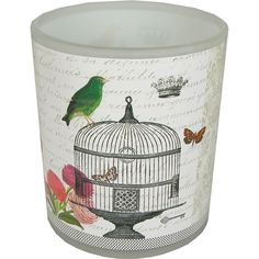 Passerines Birds Flowers Frosted Glass Tea Light Holder