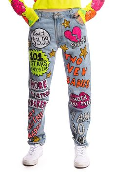TABLOID HAND-SEQUINNED JEANS
