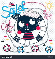 Cute cartoon cat wearing sailor hat in a life buoy on blue polka dot background illustration vector.