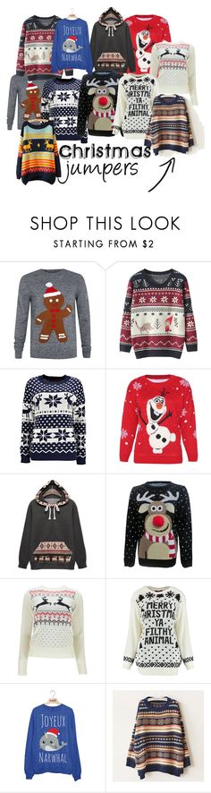 """""""Christmas Jumpers"""" by amelasadikovic ❤ liked on Polyvore featuring Disney, Christmas, christmassweater, christmascountdown, ChristmasJumpers and Christmas2015"""
