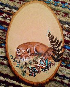 Sleeping Fox by Caillan Bower Wood Burning Crafts, Wood Burning Patterns, Wood Burning Art, Wood Crafts, Fox Painting, Feather Painting, Painting On Wood, Painted Rocks, Hand Painted