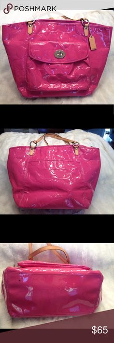 XLARGE COACH Leah Embossed Patent Tote COACH#L0993-F14662. Clean liner. Real small peel in one strap (hardly visible). One small ink spot in the bottom shown in pic. No scuffs. LOTS OF SPACE! Measures 12x18 Coach Bags Totes