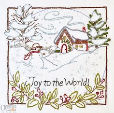 Joie pour le monde - hiver - 100 % coton motif de broderie - vacances de Noël