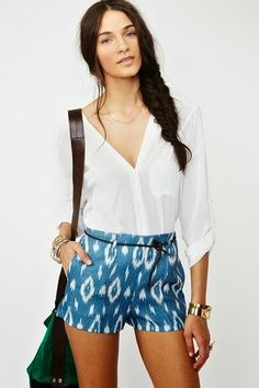 blue ikat Agustina Shorts