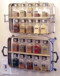 Look! Silver Casserole Servers Turned Spice Storage Kitchen Inspiration