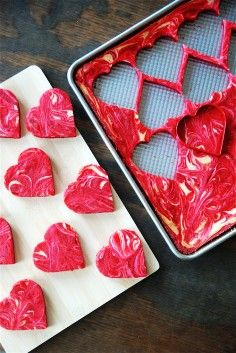 2014 Inspired DIY Valentine Treats, Marbled Red Velvet Cheesecake Brownies | Amazing ideas on diy valentine treats, valentine treat ideas, 2014 valentine's day