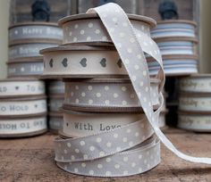 East of India beige ribbon with cream printed spots