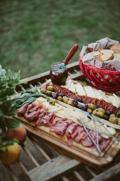 Cheese, meats and olives