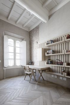 Wonderful wood floors and ceiling with wall tile detail behind the shelving - via Coco Lapine Design