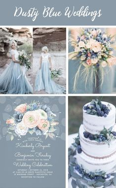 Dusty Blue pale blue slate blue wedding French blue and serenity peach dusty rose wedding ideas Peach blue and rose wedding invitation by Lovelywow at Pastel blue cake p. Dusty Rose Wedding, Dusty Blue Weddings, Beach Weddings, Vintage Weddings, Garden Weddings, Rustic Weddings, Spring Weddings, Pastel Weddings, Romantic Weddings