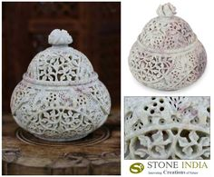 "Lattice Lace : Handcrafted Jali Soapstone Beige Jar and Bottle  (Large)  Finely carved in jali or openwork, latticework creates lacy patterns. An exquisite jar crafted with lid in soapstone's natural colors. A flower crowns the box.  Product Code : TL-103  Size :6"" H x 5"" Diam.  Weight: .9 lbs"
