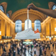 """adidas Originals on Instagram: """"How #StanSmith shows up to NYC. Clean, crisp and white with an orange tennis ball felt heal tab. Available at select US stores now. Photo by @wrongrob"""""""